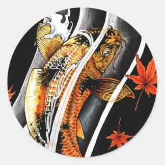 Cool oriental japanese Gold Lucky Koi Fish tattoo Round Sticker