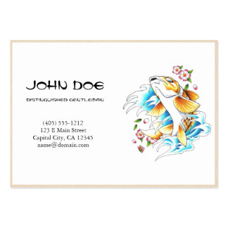 Cool oriental japanese golden ink lucky koi fish large business cards (Pack of 100)