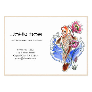 Cool oriental japanese golden ink lucky koi fish business card templates
