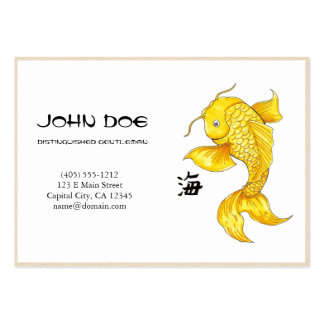 Cool oriental japanese golden ink lucky koi fish pack of chubby business cards