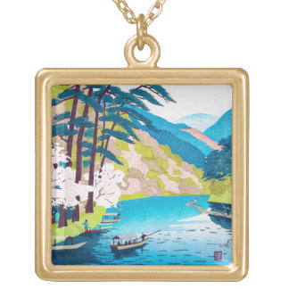 Cool oriental japanese gorgeous mountain river square pendant necklace