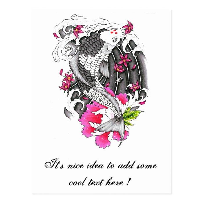 Cool Oriental Japanese Grey Koi Pink Lotus Petal Postcard