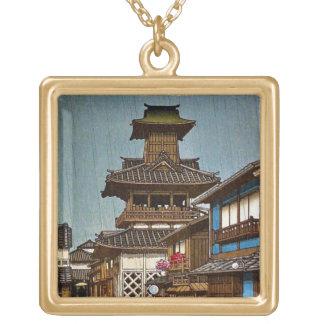 Cool oriental japanese Hasu Kawase rainy  village Square Pendant Necklace