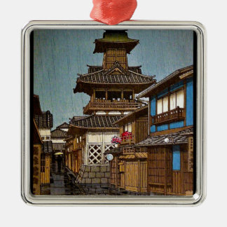 Cool oriental japanese Hasu Kawase rainy  village Silver-Colored Square Decoration