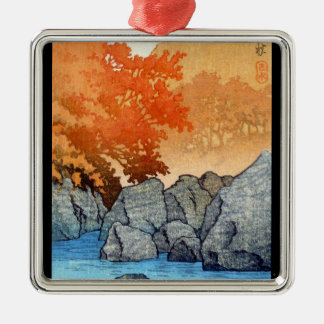 Cool oriental japanese Hasu Kawase River Rock Silver-Colored Square Decoration