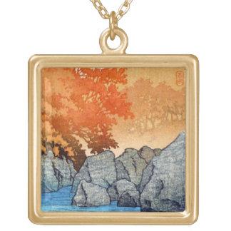Cool oriental japanese Hasu Kawase River Rock Square Pendant Necklace