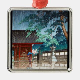 Cool oriental japanese Hasui Kawase rainy scene Silver-Colored Square Decoration