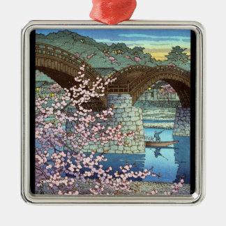 Cool oriental japanese Hasui kawase river bridge Silver-Colored Square Decoration