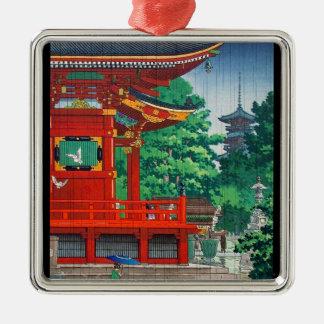 Cool oriental japanese hasui Kawase shrine in rain Silver-Colored Square Decoration