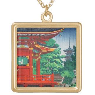 Cool oriental japanese hasui Kawase shrine in rain Square Pendant Necklace
