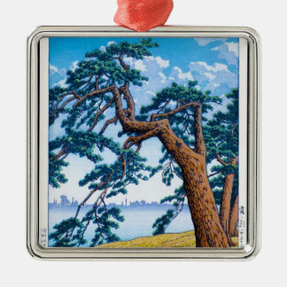 Cool oriental japanese Hasui Kawase tree art Silver-Colored Square Decoration