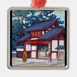 Cool oriental japanese Hasui Kawase village scene Silver-Colored Square Decoration
