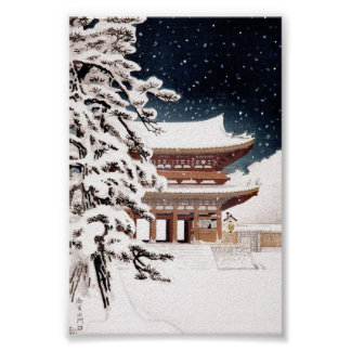 Cool oriental japanese Hasui Kawase winter scenery Poster