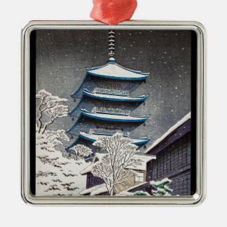 Cool oriental japanese Hasui Kawase winter scenery Silver-Colored Square Decoration
