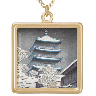 Cool oriental japanese Hasui Kawase winter scenery Square Pendant Necklace