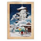 Cool oriental japanese hasui Kawase winter snow Card