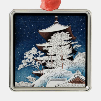 Cool oriental japanese hasui Kawase winter snow Silver-Colored Square Decoration
