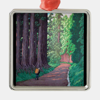 Cool oriental japanese Hasui Road to Nikko forest Silver-Colored Square Decoration