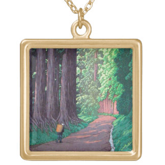 Cool oriental japanese Hasui Road to Nikko forest Square Pendant Necklace