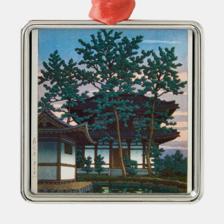 Cool oriental japanese Hasui  village tree art Silver-Colored Square Decoration