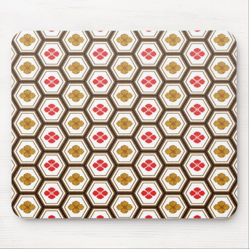Cool oriental japanese hexagon shape flower mouse pad