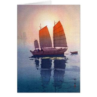 Cool oriental japanese Hiroshi Yoshida morning Note Card