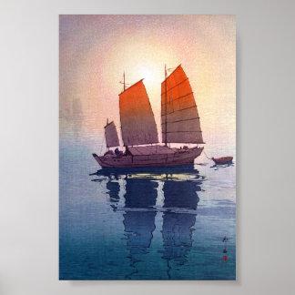 Cool oriental japanese Hiroshi Yoshida morning Poster