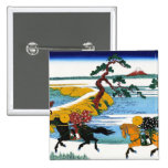 Cool oriental japanese Hokusai Fuji View landscape 15 Cm Square Badge