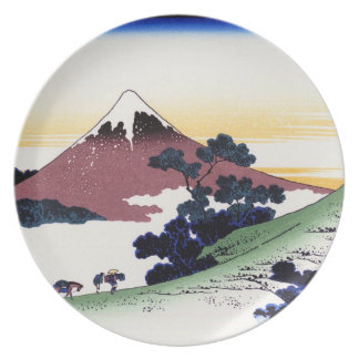 Cool oriental japanese Hokusai Fuji View landscape Plate