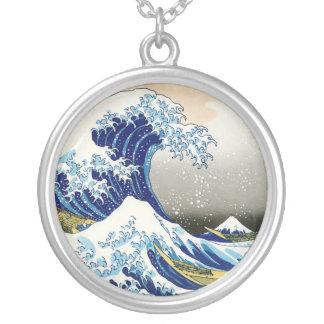 Cool oriental japanese Hokusai Fuji View landscape Round Pendant Necklace