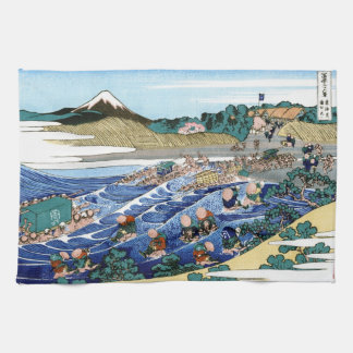 Cool oriental japanese Hokusai Fuji View landscape Tea Towel