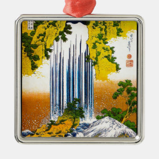 Cool oriental japanese Hokusai Waterfall art Silver-Colored Square Decoration