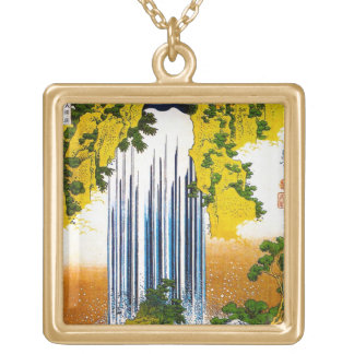 Cool oriental japanese Hokusai Waterfall art Square Pendant Necklace