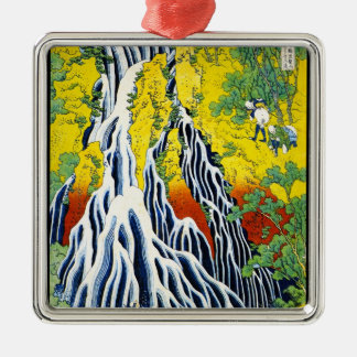 Cool oriental japanese hokusai Waterfall forest ar Silver-Colored Square Decoration