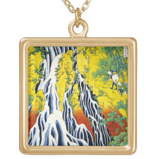 Cool oriental japanese hokusai Waterfall forest ar Square Pendant Necklace