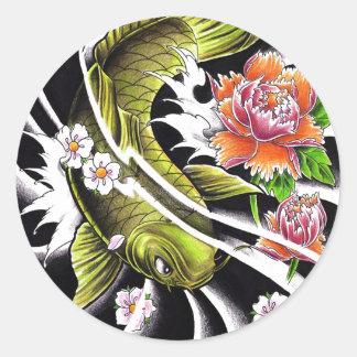 Cool oriental japanese ink lucky koi fish tattoo round sticker