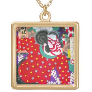 Cool oriental japanese kabuki samurai kunichika square pendant necklace