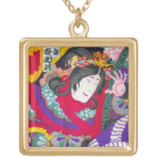 Cool oriental japanese kabuki woodprint art square pendant necklace