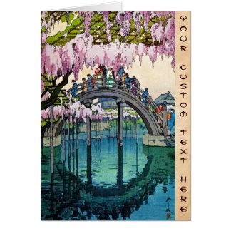Cool oriental japanese Kameido Bridge Yoshida art Note Card