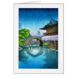 Cool oriental japanese Kameido Shrine lake rain Note Card