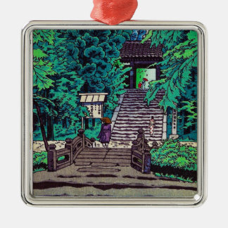 Cool oriental japanese Kasamatsu forest entrance Silver-Colored Square Decoration