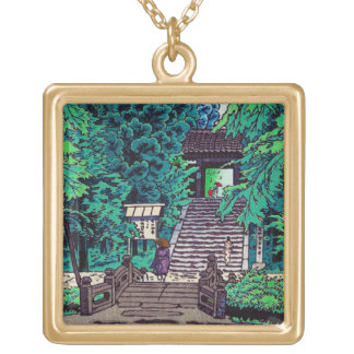 Cool oriental japanese Kasamatsu forest entrance Square Pendant Necklace