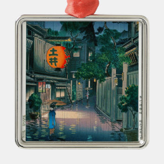 Cool oriental japanese Kasamatsu night street rain Silver-Colored Square Decoration