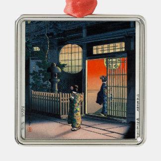 Cool oriental japanese kasamatsu night village art Silver-Colored square decoration