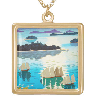 Cool oriental japanese Kawai Kenji Sunset Lake Square Pendant Necklace