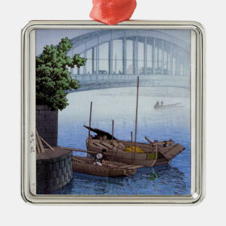 Cool oriental japanese Kawase boat bridge in mist Silver-Colored Square Decoration