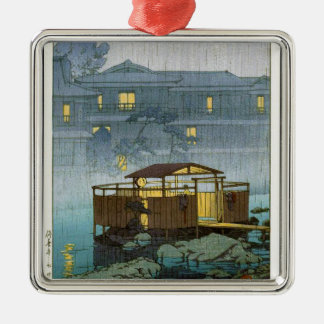Cool oriental japanese Kawase rainy day art Silver-Colored Square Decoration
