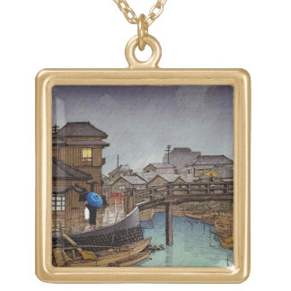 Cool oriental japanese Kawase rainy day art Square Pendant Necklace
