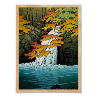Cool oriental japanese Kawase Senju Waterfall art Poster