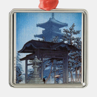 Cool oriental japanese Kawase Shrine entrance art Silver-Colored Square Decoration